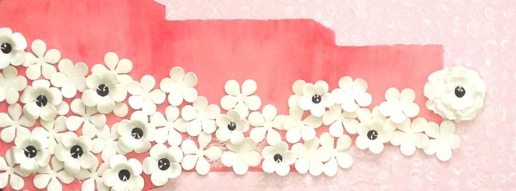 Pink with white flowers